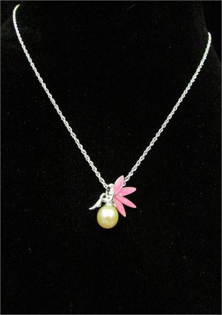 925 Silver Fairy on a Pearl Pendant Necklace by Vantel Pearls