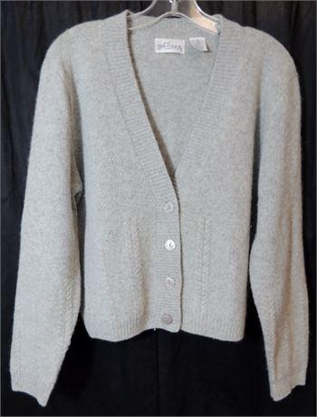 Vintage 'Just Sasha' Grey Lambswool/Angora Blend Button Front Sweater (579)