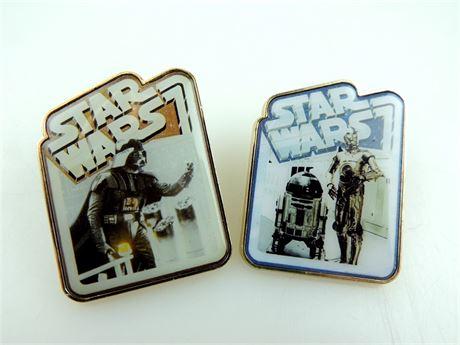 2 Disney Star Wars Collectible Trading Pins - Darth Vader & Droids (649-J)