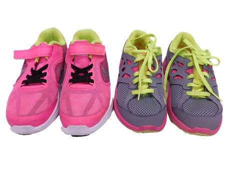Two Nike Girl Youth Hotpink/NeonYellow Shoes Size 1&2 (R5)