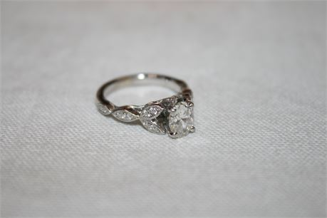 Robbins Brothers 14k White Gold Engagement Ring w/ .73 Carat Oval Diamond