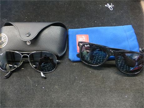 RayBan Sunglasses, 2 Pairs w/ cases