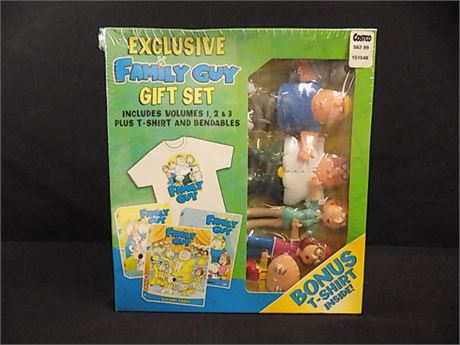 Exclusive FAMILY GUY DVD Gift Set; Vol. 1,2 &3 Plus T-Shirt And Bendables