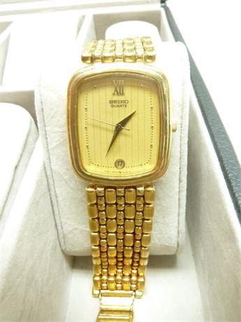 Mens Seiko Watch; M# 5P32-5070 (RO) Gold On Gold, Not Running