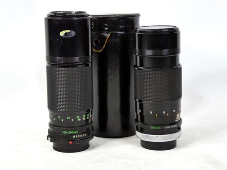 Canon Zoom Lens Bundle: Canon FD 100-200mm 1:5.6 + Canon FD 200mm 1:4 S.S.C