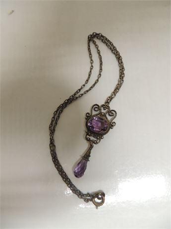 Amethyst Vintage Necklace 8.1 Grams Sterling Silver