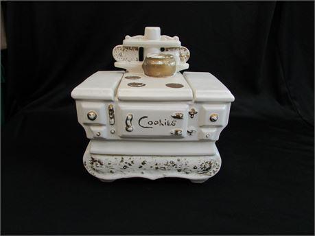 Sponsored Vintage, Early McCoy USA, White Stove Ceramic Cookie Jar