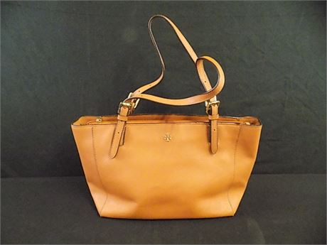 Tory Burch Emerson Small Buckle Tote in Tiger's Eye