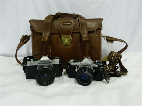 Vintage Pentax K1000 ME Super Film Camera Bundle