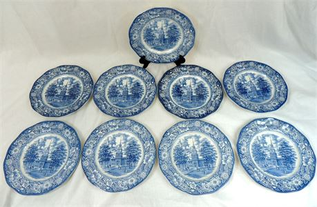 """9 Pc Set Liberty Blue  9 3/4"""" Dinner Plates by Staffordshire - England"""