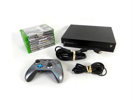 Microsoft Xbox One X 1787 1TB Black With Controller, Cords & 8 Games