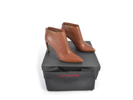 Walter Steiger High Heel Ankle Boots, Brown Leather, Italy 37.5, Like New IOB