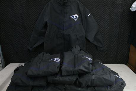 """Nike """"Rams"""" On-Field Apparel Rain Jackets, 10 Total"""