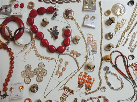 All Things Red Orange Yellow Jewelry Lot