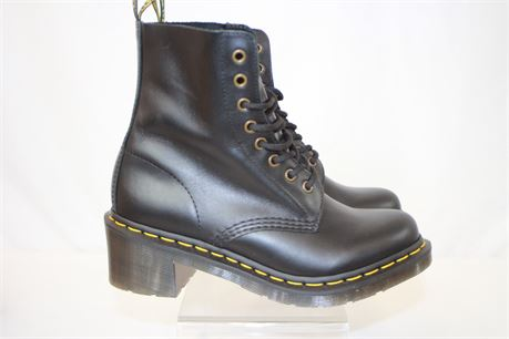 Dr Martens Clemency Black Leather Boots Size 8 NEW IN BOX