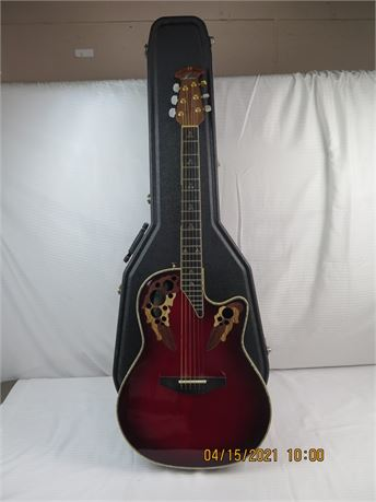 Ovation Custom Elite CE778 Acoustic-Electric Red Burst Guitar w/ Case - NICE!