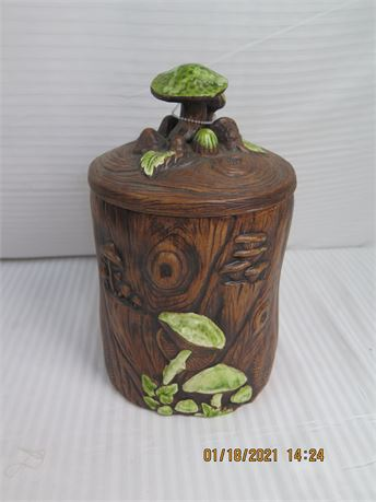 """Treasure Craft U.S.A. Mushroom Log Cookie Jar 10.5"""" (670)"""