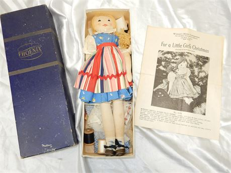 """Vintage Rare """"For a Little Girl Christmas By Edith Flack"""" Doll"""