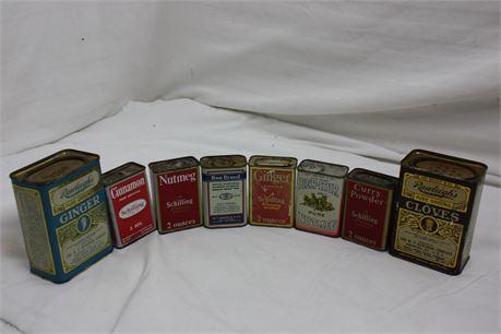 Lot of 8 Vintage Spice Tins