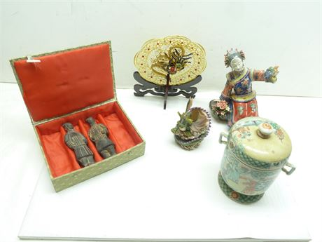 Lot Of Oriental Style Decor; 5- Assorted Pieces