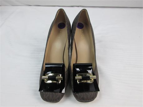 Michael Kors Brown and Black 4 Inch Heels Size 8.5