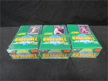 Lot of 3 Score 1991 MLB Card Series I Boxes - Sealed