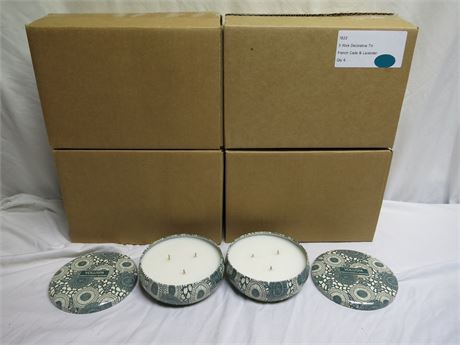 Big Lot Of 24 VOLUSPA French Cade & Lavender 3 Wick Tin Candles Brand New