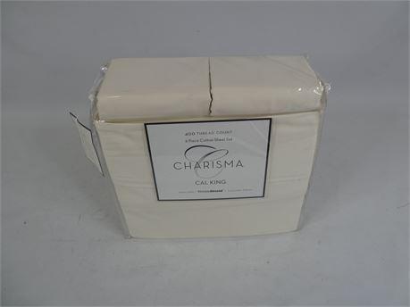 Charisma 6 Piece 400 Thread Count Sateen CA King Sheet Set 100% Cotton - Ivory