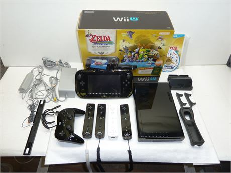 Lot Of WiiU: 1 Console,1 Game Pad,5 Controllers,1 Game & Accessories In Box