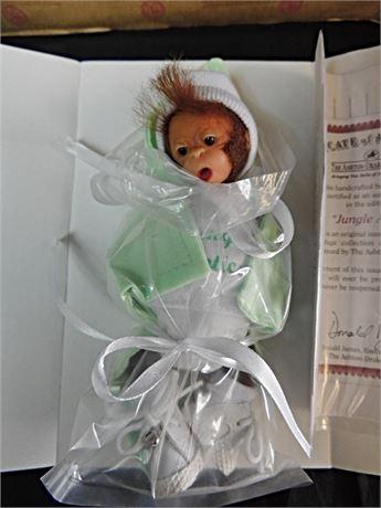 "Ashton Drake Jungle Antics 6"" Baby Monkey Doll by Darlene Austin MIB"