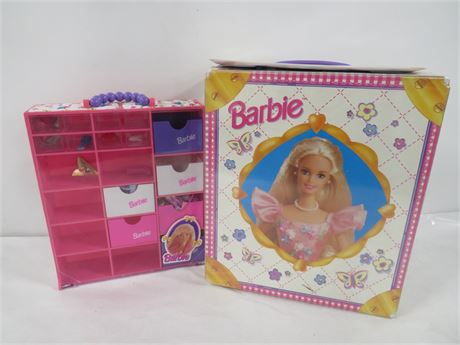 Lot of Barbies & Case w/ Clothes & Accessories (230-LV5MM)