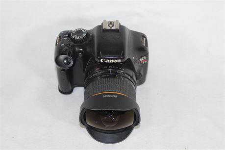 Canon EOS Rebel T2i 18.0MP Digital SLR Camera w/Rokinon 8mm 1:3.5 Fish-Eye Lens
