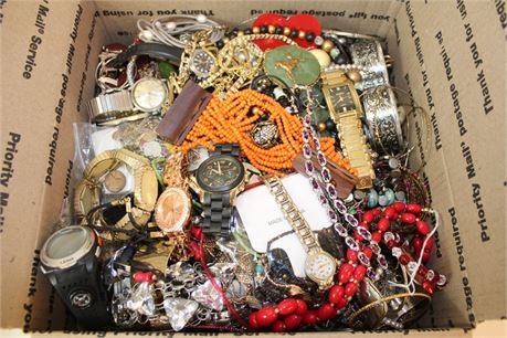 20 Lbs Wholesale Jewelry Scrap Lot Watches Rings Beads Earrings