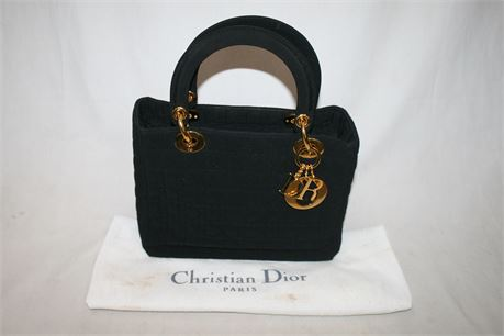 Christian Dior Black Quilted Cannage Lady Dior, Serial #: RU0938
