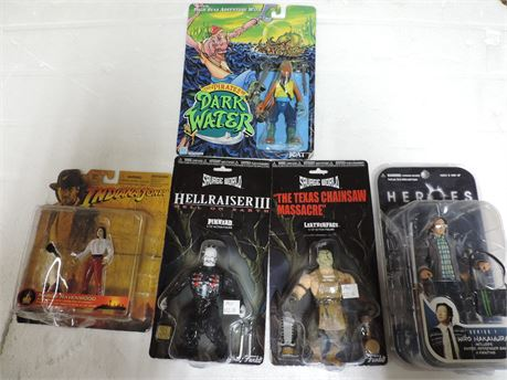 Lot Of Action Figures Pinhead Leather Face Indiana Jones And More