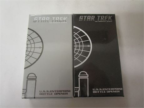 Set of Black and Silver Star Trek U.S.S. Enterprise Bottle Openers - New