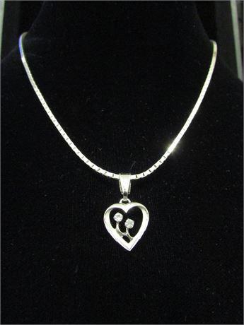 16 inch 925 Silver CZ/Heart Pendant Necklace