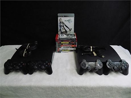 Sony Playstation 3 Lot: 2 Consoles, 4 Controllers, 10 Games; Tested!