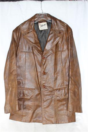 Stylish LA Vintage Brown Leather Jacket, Monte's For Men, Size L