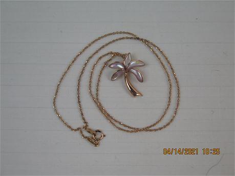 "Na Hoku Signed 14k Rose Gold 17"" Palm Tree Pendant - 3.55g (670)"
