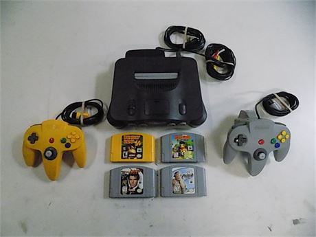 Nintendo 64 with 2 Controllers, 1 Rumble Pack, 4 Games; Tested!