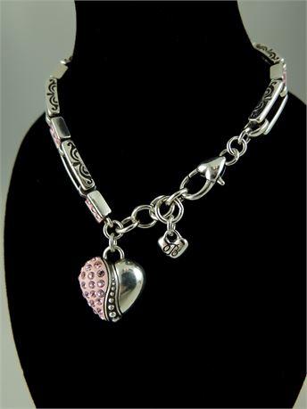 Brighton Silver Tone Double Bar Pink Rhinestone Heart Charm Bracelet (112-J)