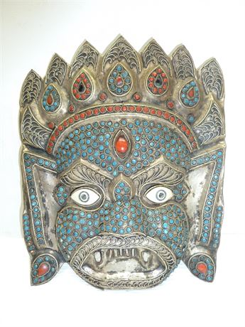 """Vintage, Handcrafted Metal Decorative Mask, With Inlays, 8""""x6.5"""""""