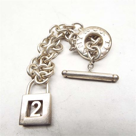 Tiffany & Co. Bracelet With Pad Lock With The  #2 Inside All Marked 30.7g