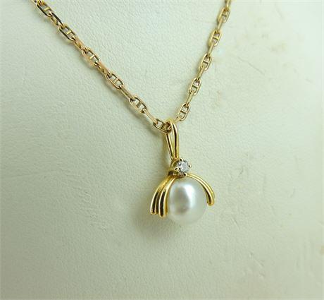 """18K Yellow Gold Diamond & Button Pearl Pendant w/14K Anchor Chain 18"""" (112-J)"""
