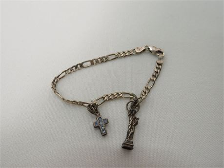 .925 Sterling Silver Bracelet With A Cross And Statue Of Liberty Charm (Tested)