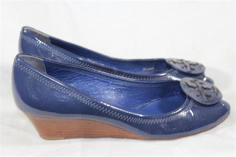Tory Burch Blue Melanie Peep Toe Wedges, Size W 10.5