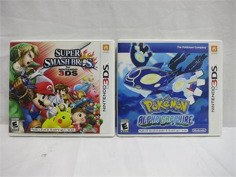 Nintendo 3DS Pokemon Alpha Sapphire & Super Smash Bros. Video Games