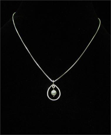 925 Silver Pearl Pendant Necklace