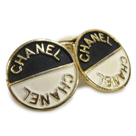 "Vintage Designer Clip-On Two Tone Earrings 7/8"""